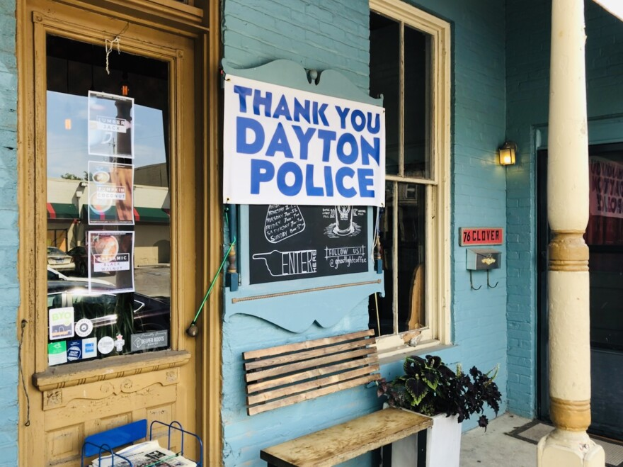 Thank you Dayton Police sign at Ghostlight Coffee