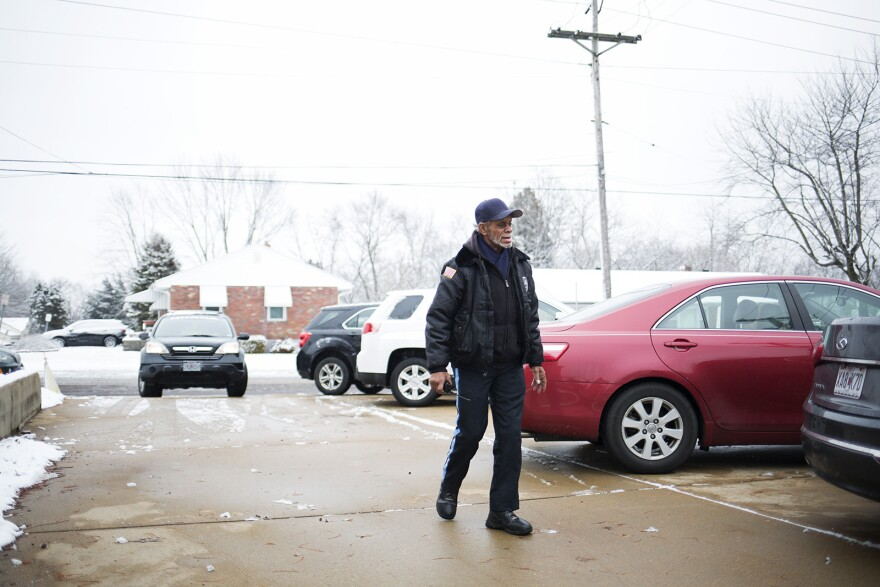 Mike Miller patrols a parking lot behind New Northside Missionary Baptist Church. Jan. 12, 2020