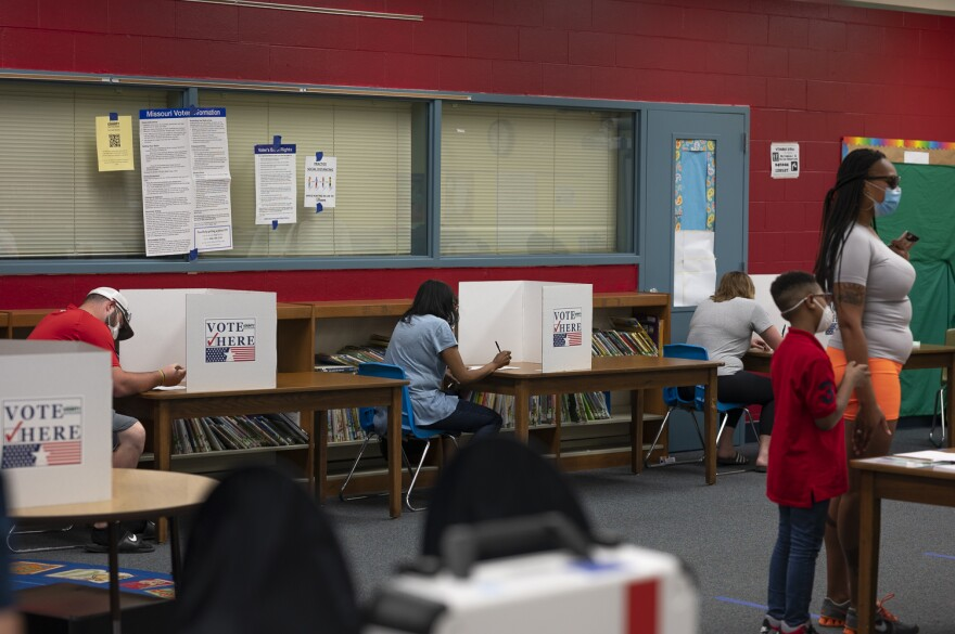 Ferguson residents vote at Griffith Elementary School in Ferguson, Missouri. Residents voted in person for the first time since the onset of the coronavirus pandemic. June 2, 2020