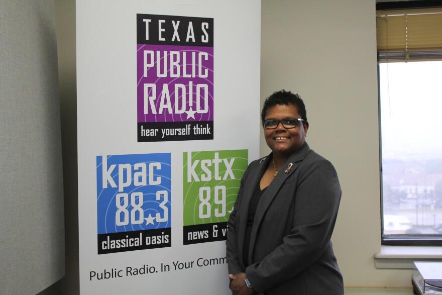 Octavia Harris visits the Texas Public Radio studio.