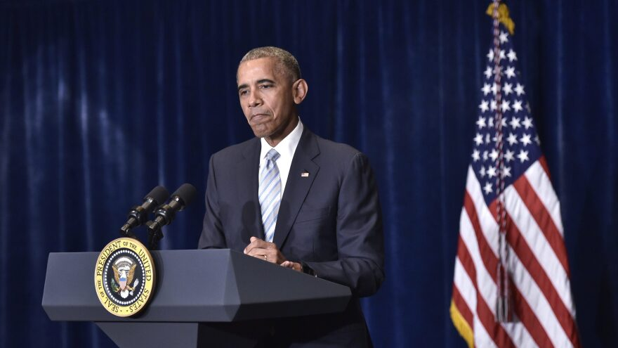 President Obama speaks Friday at a hotel in Warsaw, Poland, about the recent shootings in the U.S.