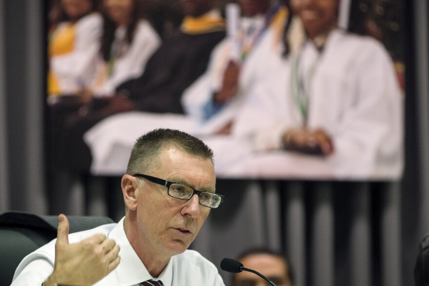 "Los Angeles Unified School District Superintendent John Deasy, seen in a photo taken last year, says his resignation Thursday was ""by mutual agreement."