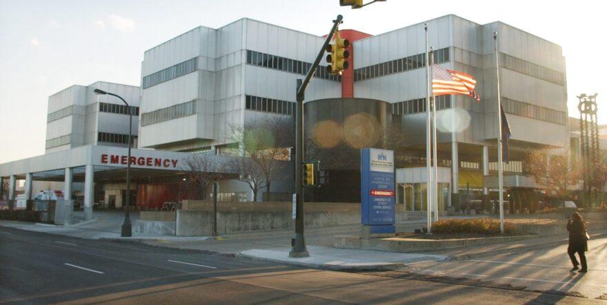 Detroit Receiving Hospital is shown on Friday, Dec. 17, 2004 in Detroit. (Carlos Osorio/AP)