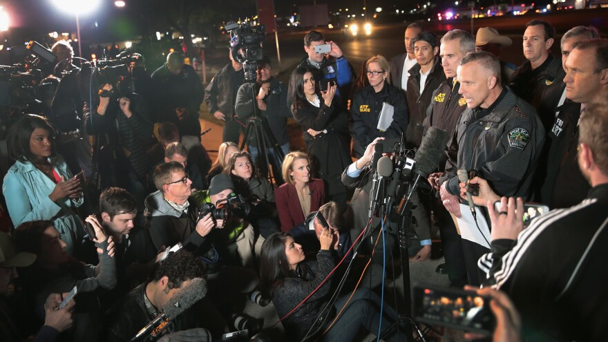 """""""The suspect is deceased and has significant injuries from a blast that occurred from detonating a bomb inside his vehicle,"""" Austin Police Chief Brian Manley told journalists near the location where the suspected package bomber died in Round Rock, Texas, in suburban Austin on Wednesday."""