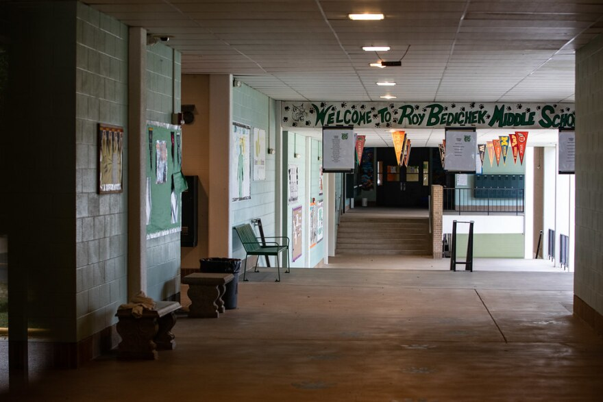 The empty hallway at Bedicheck Middle School in South Austin.
