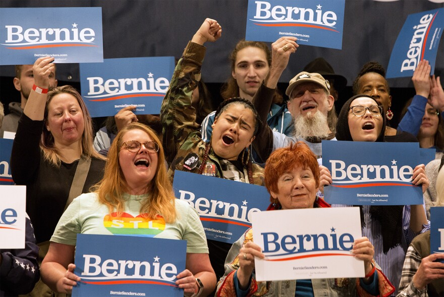 Supporters cheer as presidential candidate and Vermont Senator Bernie Sanders speaks at the Stifel Theatre in downtown St. Louis on Monday afternoon. (March 9, 2020)