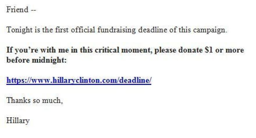 Clinton campaign fundraising note sent on June 29.