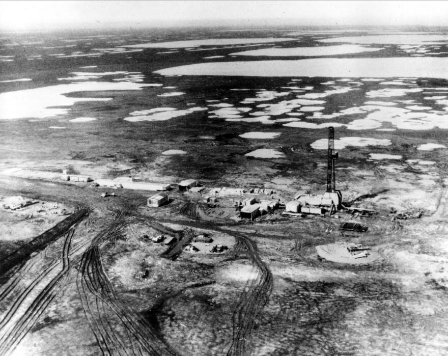 One of the first oil wells of vast petroleum deposits discovered in Prudhoe Bay, in 1968.
