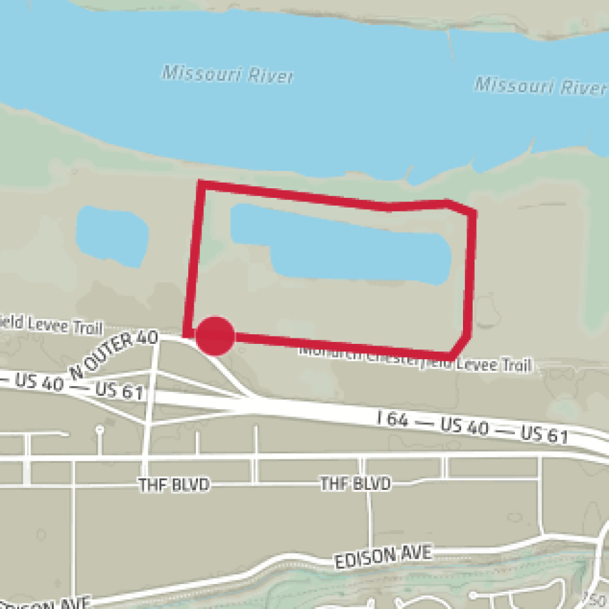 Map of approximate location of River's Edge Park in Chesterfield