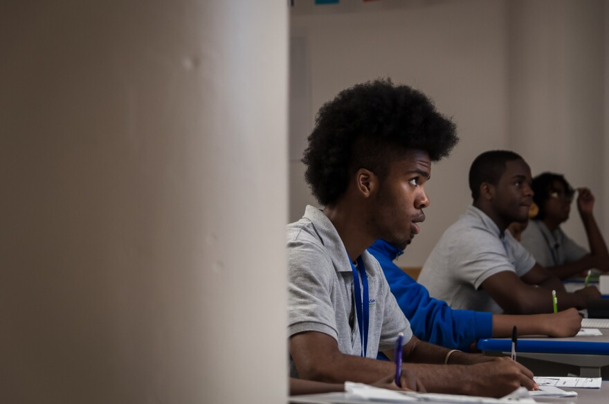 Ninth graders take notes during a social studies class at the recently opened KIPP St. Louis High School on Tuesday, Aug. 15, 2017.