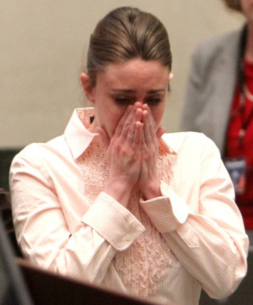 Tuesday (July 5, 2011): Casey Anthony reacts to being found not guilty on murder charges.