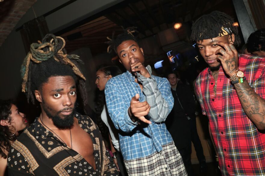 EarthGang (left and center) and J.I.D. attend IGA X BET Awards Party 2017 on June 24, 2017 in West Hollywood, Calif. (Rich Polk/Getty Images for Interscope Records)