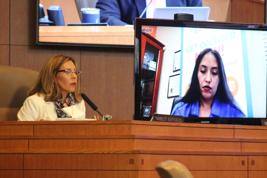 District 5 Councilwoman Shirley Gonzales asks about childcare funding during Thursday's council meeting.