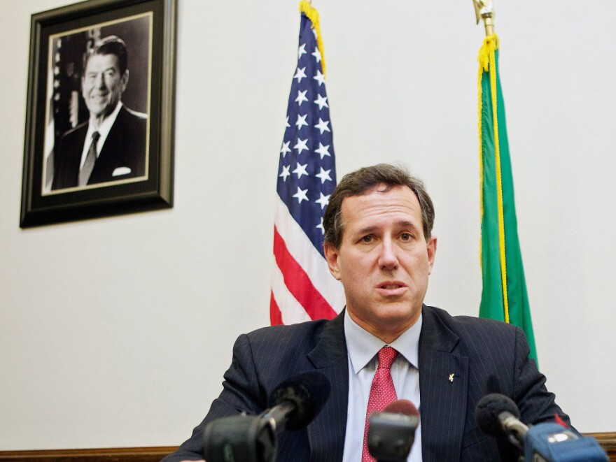 Republican presidential candidate Rick Santorum speaks to the media Feb. 13, 2012 at the state capitol in Olympia, Washington. Santorum is rising in national polls against his rivals.