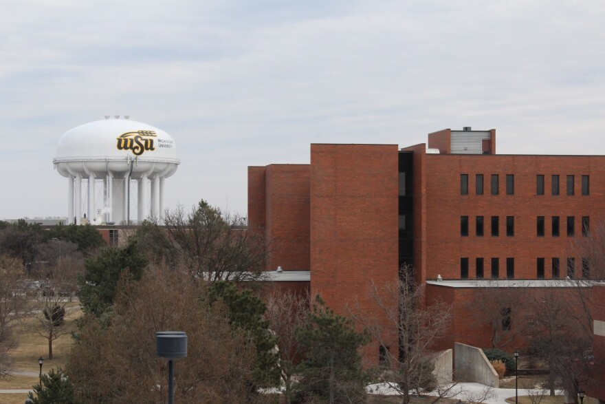 The water tower looming over the Wichita state campus.