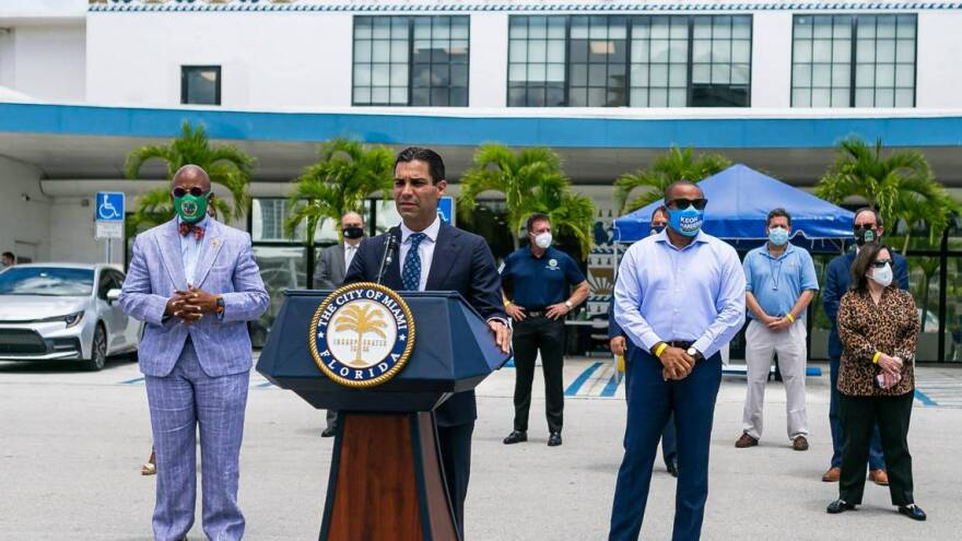 City of Miami Mayor Francis Suarez speaks during a COVID-19 press conference outside of Miami City Hall in Coconut Grove, Florida on Monday, June 22, 2020. A total of 15 Miami-Dade mayors gathered to announce stricter enforcement of COVID-19 rules.