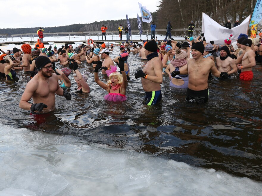 Winter swimmers enjoyed an icy dip in Poland's Garczyn lake last February. Recorded air temperature was around 14 degrees Farenheit, and a large ice hole had to be cut to allow the lake bathing.