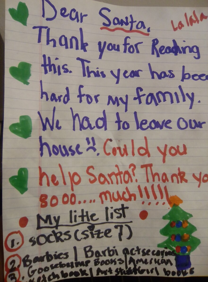 Morgan, 8 years old, wrote to Santa for the first time in what became a difficult year for her family due to the pandemic.