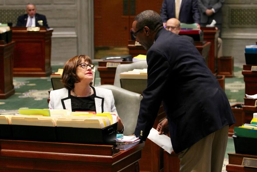 Sen. Jill Schupp, D-Creve Coeur, talks with a doorman on Friday.