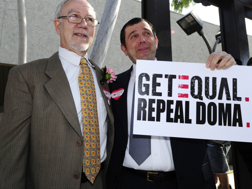"Nowlin Haltom (left) and Michael McKeon join other same-sex couples in a national ""Request Marriage"" action this Valentine's Day outside the Los Angeles County Clerk's Office. The couples requested and were refused marriage licenses."
