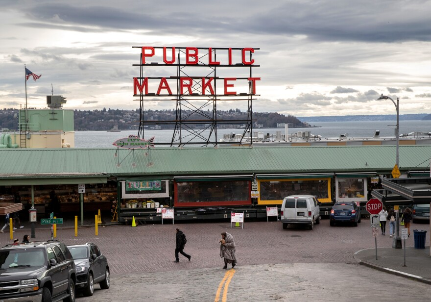 The Pike Place Market is nearly empty in downtown Seattle on March 10.