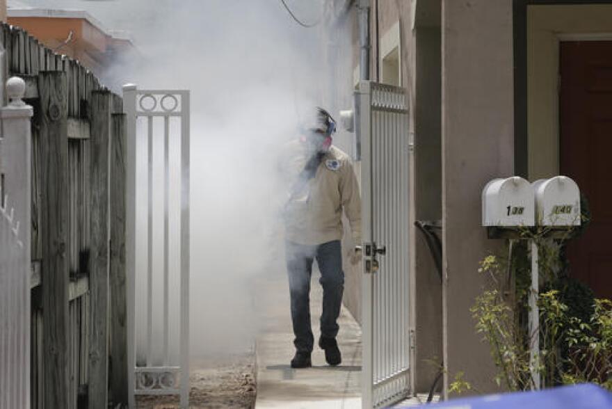 Spraying in a Miami neighborhood during the 2016 rainy season.