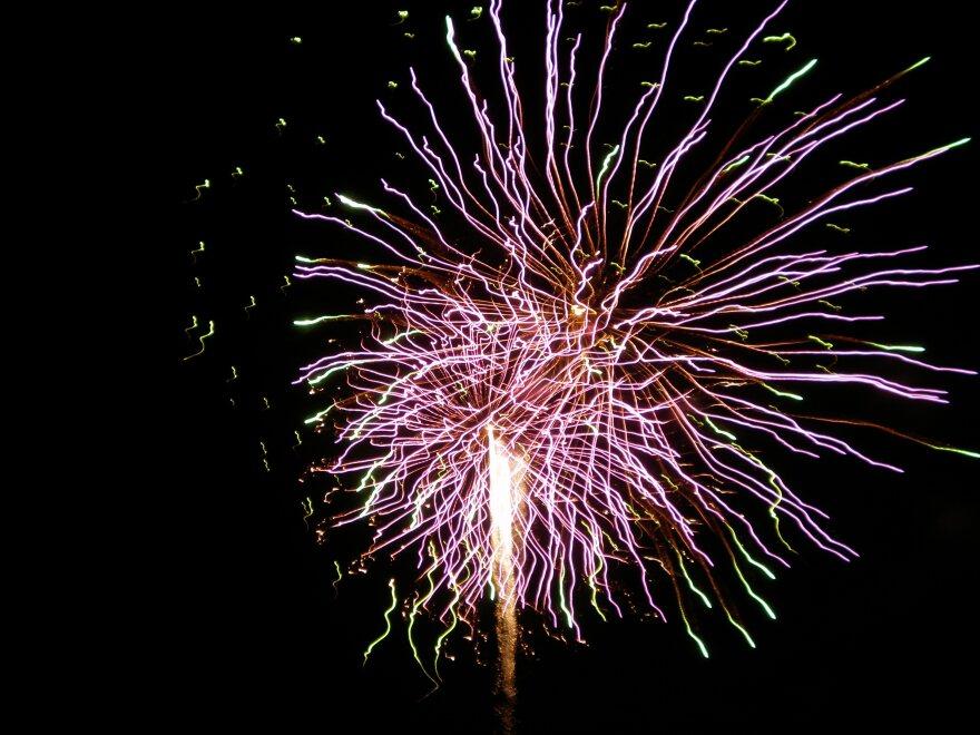 Fireworks burst over Lady Bird Lake