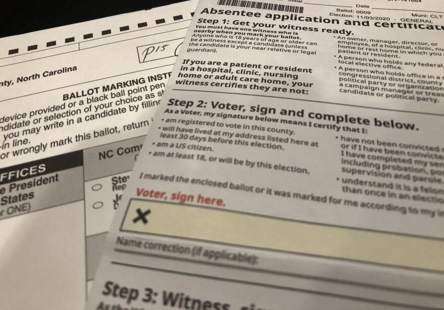 A North Carolina absentee ballot