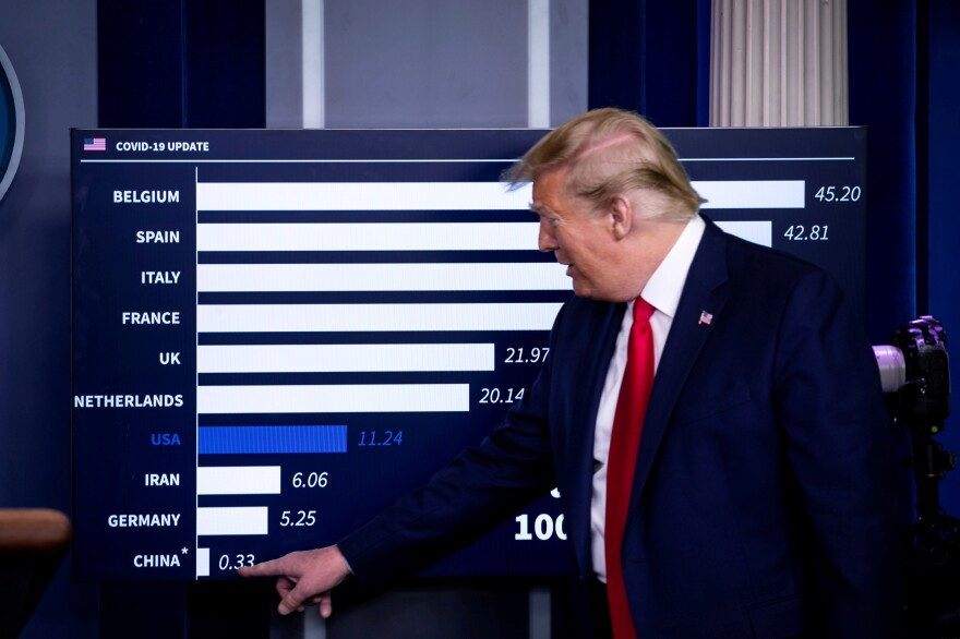 President Trump speaks as he points to China on a chart showing death rates per 100,000 inhabitants during a coronavirus task force briefing on April 18. Belgium surged to the top of the chart because authorities are including all deaths that are even suspected of being caused by the virus, whether the deceased was tested or not.