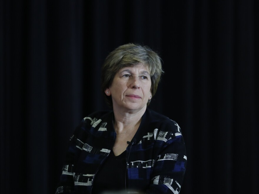 Randi Weingarten, President of the American Federation of Teachers, the second largest nurses' union, listens during a town hall meeting in Detroit on May 6, 2019. Weingarten says her union has identified at least 200 hospitals that have cut worker hours amid the pandemic.