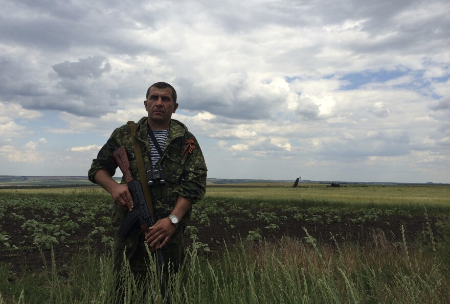 A pro-Russian fighter guards the site of remnants of a downed Ukrainian army aircraft near Luhansk, Ukraine on Saturday.