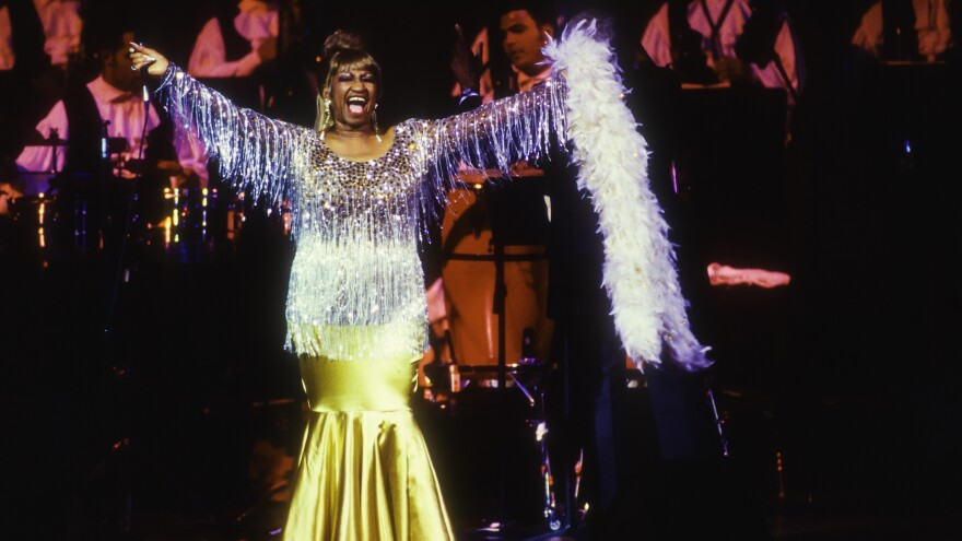 "Celia Cruz performs in New York in 1995. That same year, Deborah Paredez saw her at Chicago's Aragon Ballroom. ""Cruz opened her mouth, the band lifted their horns and we came together on the dancefloor,"" she says."