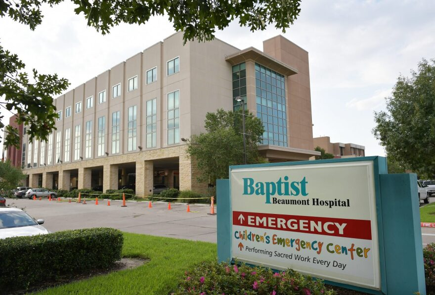 The Baptist Beaumont Hospital is seen in Beaumont, Texas on Aug. 31, 2017. (Mandel Ngan/AFP/Getty Images)