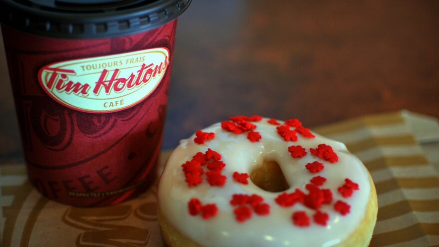 """What's on the menu at Tim Hortons? Coffee and doughnuts --"""" and also sandwiches and pastries."""
