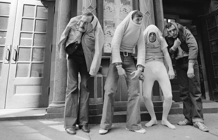 "John Cleese, pictured above in 1976 with Monty Python's Flying Circus (from left, Cleese, Michael Palin, Terry Gilliam and Terry Jones), says he worked hard to learn physical comedy by imitation — ""It was not something I was naturally gifted at,"" he says."