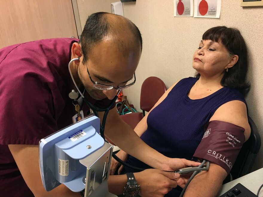 """Ann Mazuca has diabetes and glaucoma that can be aggravated by high blood pressure. The support shown by clinic staff at the University Family Health Center Southeast, in San Antonio, helps her do what's needed to reduce hypertension, she says. """"The fact that they care makes me care."""""""