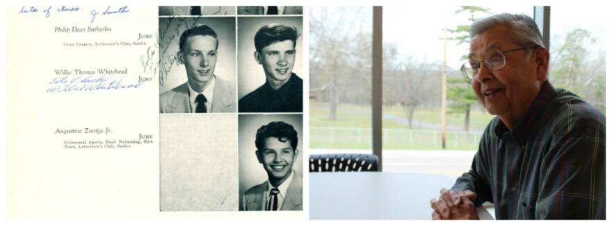 Left: Zuniga's high school yearbook. Right: Zuniga meeting with Daniel Gonzalez.