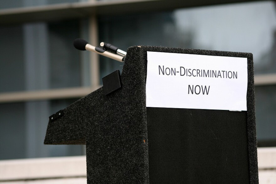 """Non-discrimination now"" sign"