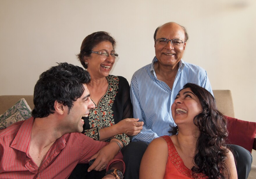 Our author Chhavi Sachdev (front row, right), with her dad, mom and brother. Dad is not a fan of Father's Day.