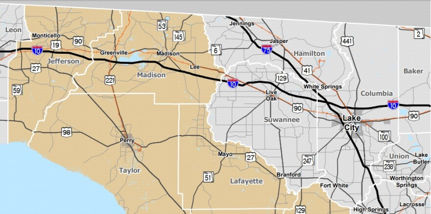 A map of North Florida criss-crossed by black, red and blue lines showing highways