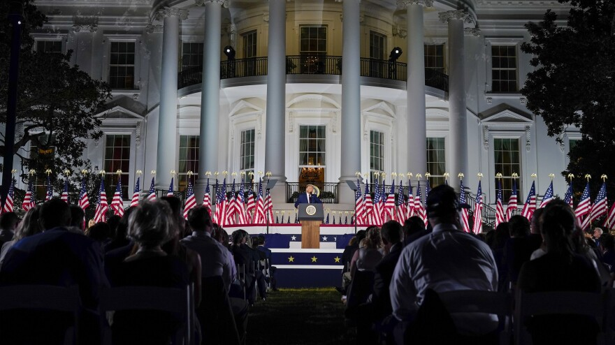 President Trump speaks from the South Lawn of the White House on Thursday night, the last day of the Republican National Convention.