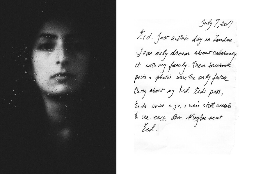 A portrait of Yasmeen, a writer and blogger from Gaza currently living in the United Kingdom<em>, </em>and a<em> </em>handwritten letter addressed to the artist, Thana Faroq. In the letter, Yasmeen describes her experience of seeking shelter in Europe.