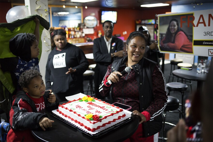 Fran Griffin celebrates her win in Ferguson's city council race with supporters at Club Diamonds in Ferguson.