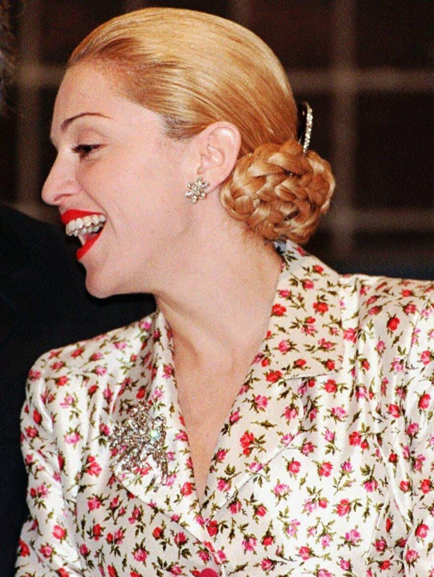 Madonna on a press tour before filming of <em>Evita</em> began in 1996.