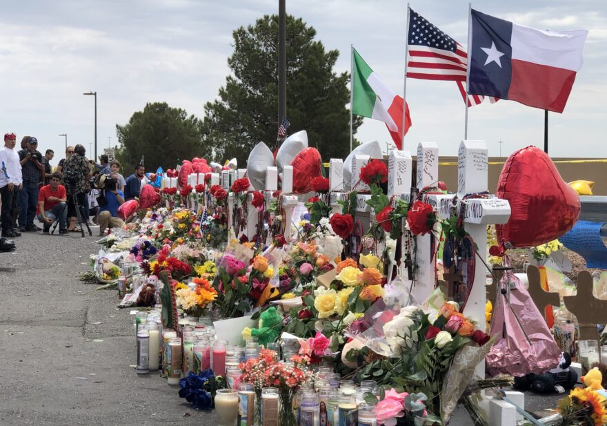 The makeshift memorial for the victims of the Aug. 3, 2019, shooting outside the Walmart in El Paso, Texas.