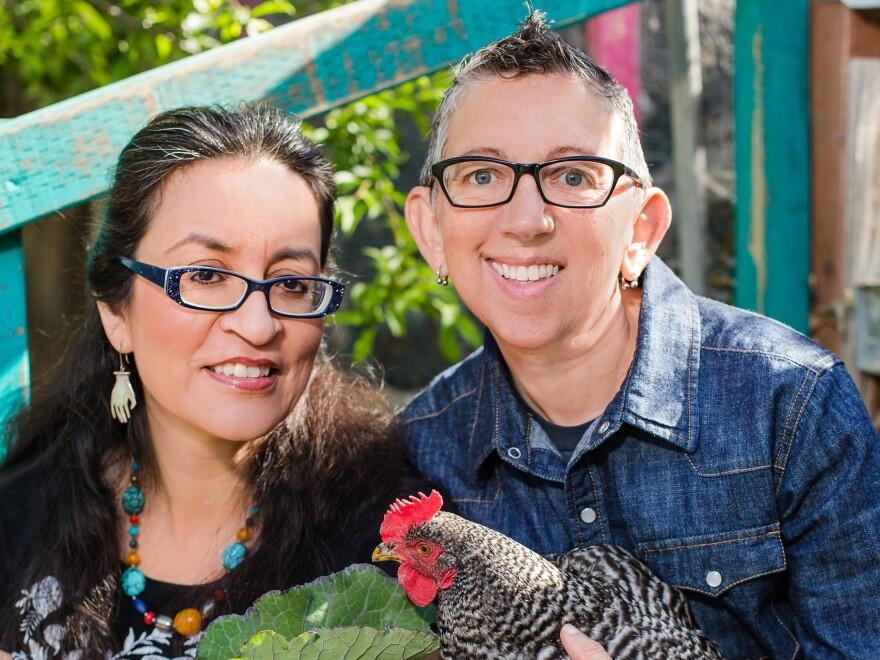 Cookbook authors Catriona Rueda Esquibel and Luz Calvo in their Bay Area backyard.