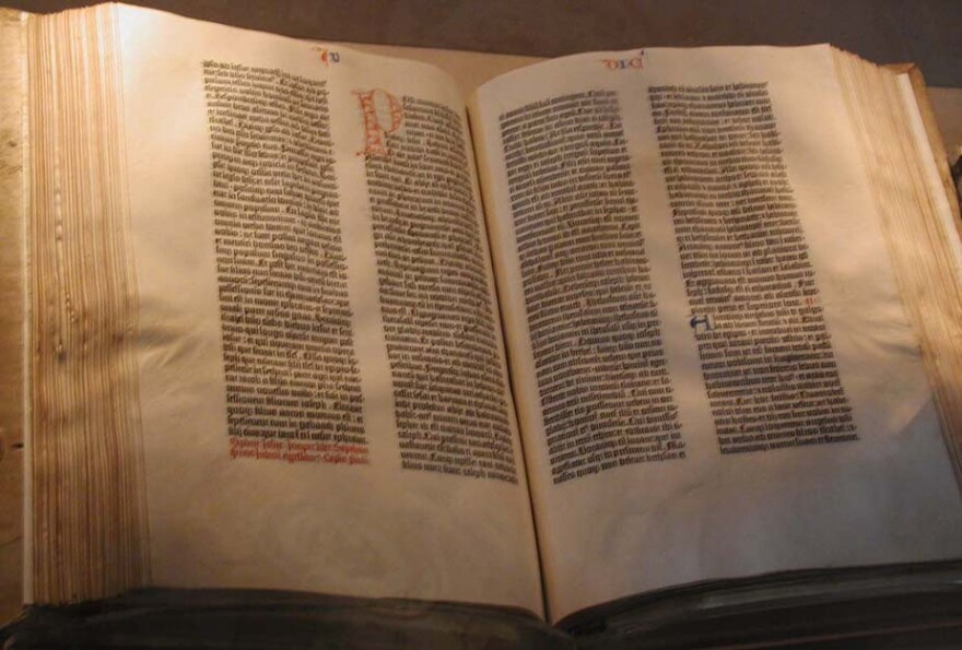 A picture of a copy of the Gutenberg Bible.