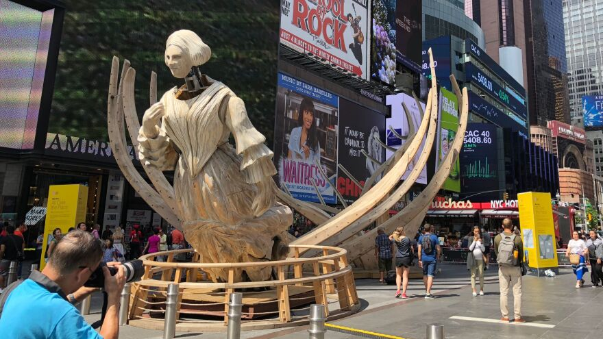Mel Chin's sculpture <em>Wake</em>, seen last year in New York City's Times Square.
