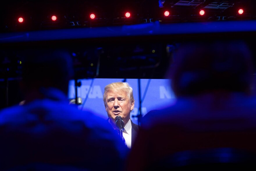 Donald Trump speaks at the National Rifle Association forum in Dallas.