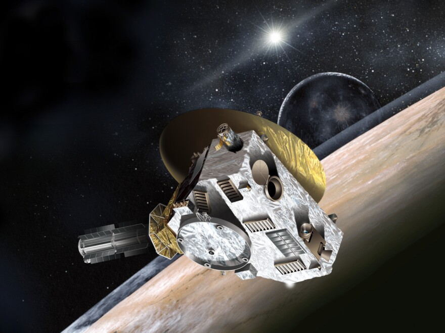Artist concept of New Horizons spacecraft. The Hubble Space Telescope is being pressed into service to help scientists look for a post-Pluto target for the space probe.